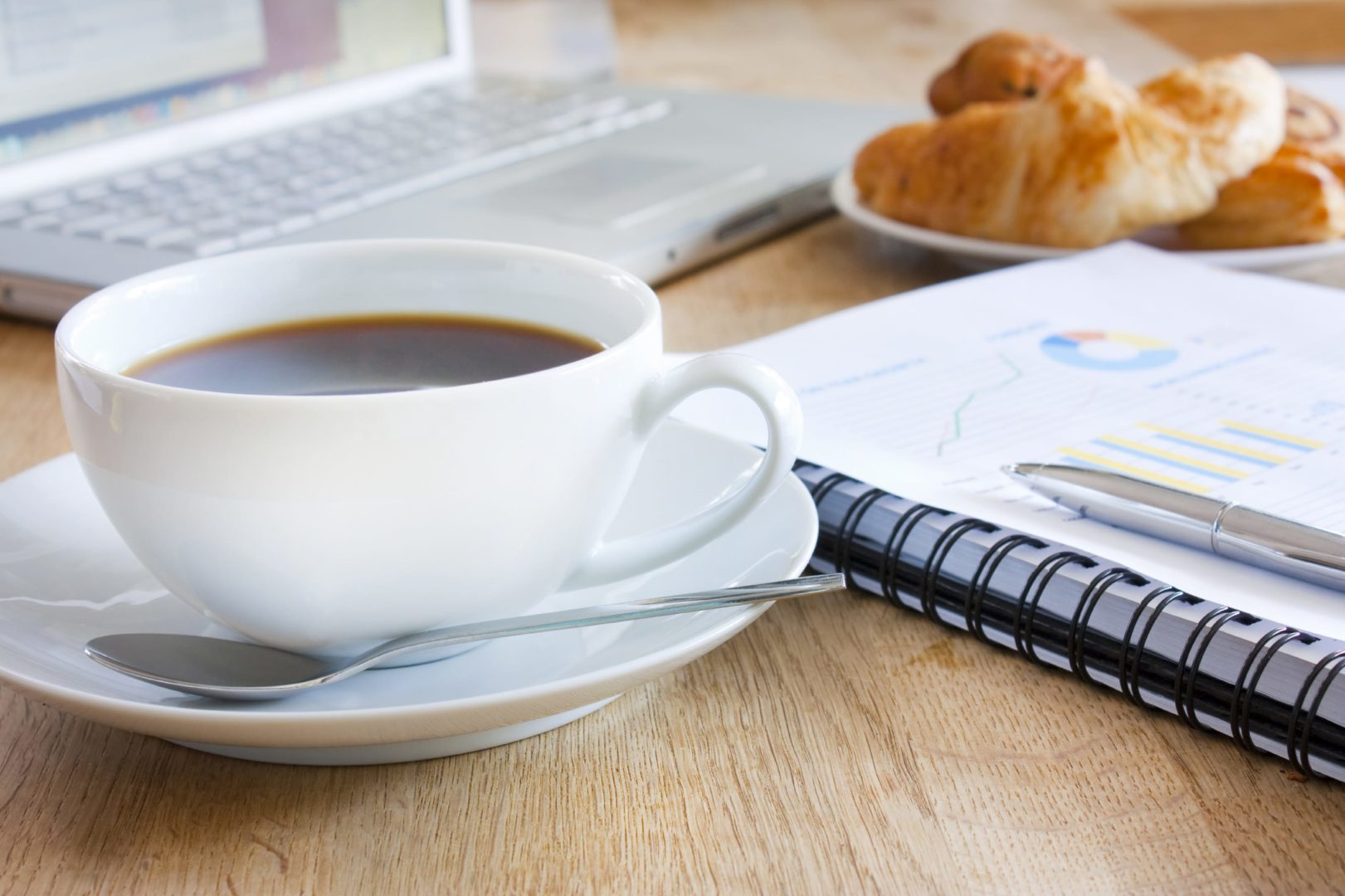 business breakfast with coffee