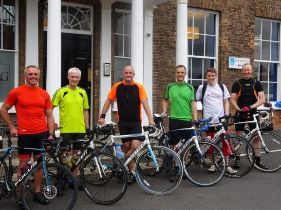 Some of the AG150 cyclists before a training ride