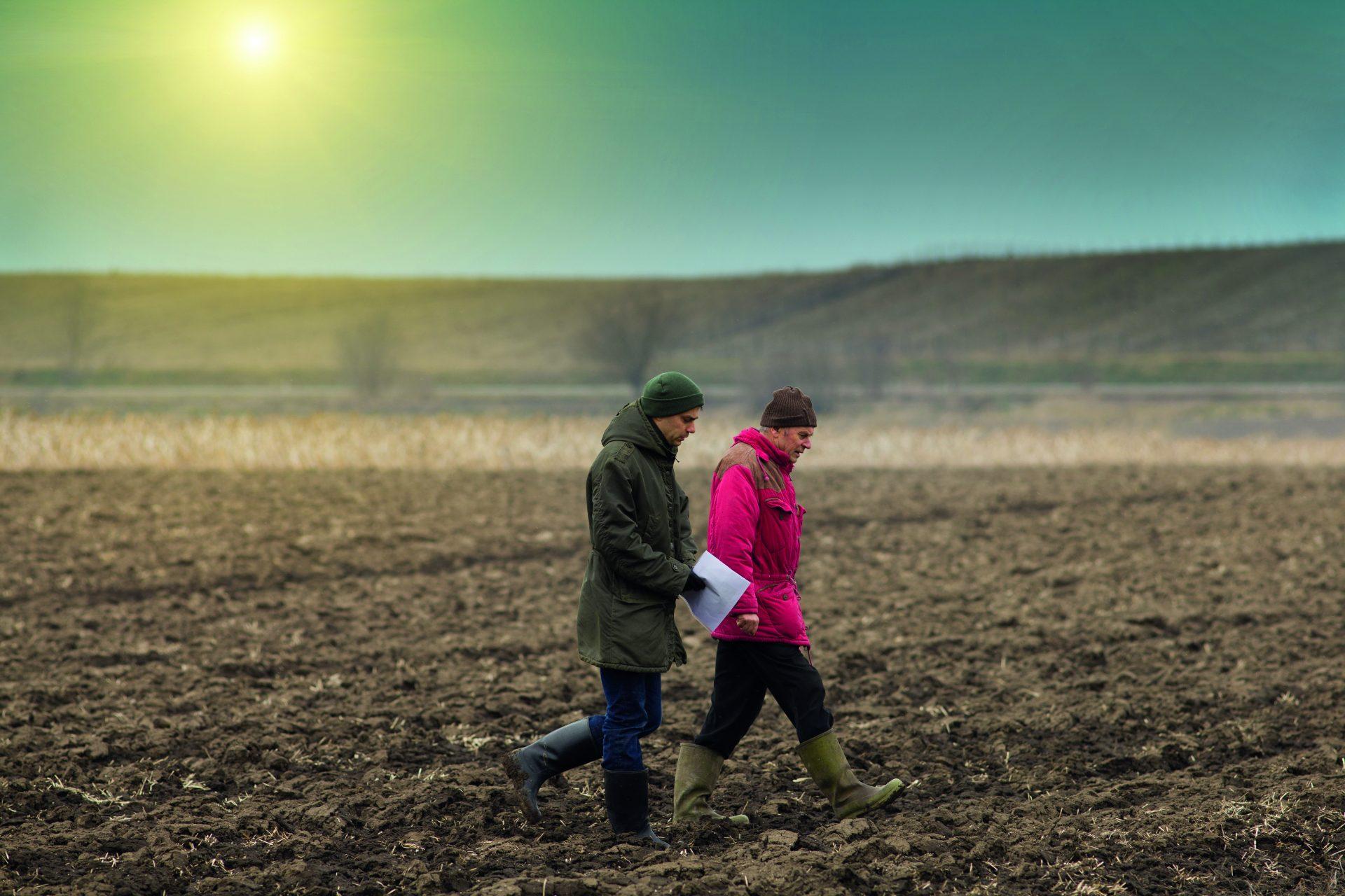 two-farmers-walking-on-a-plowed-brown-field-under-the-sun