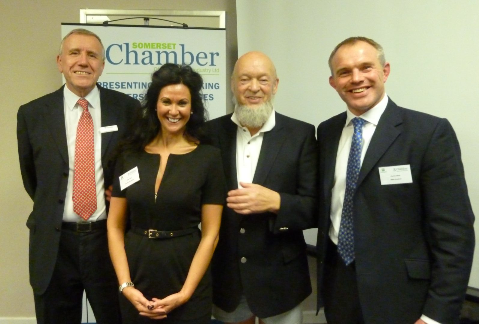 Pictured, left to right: Somerset Chamber Board representatives Graham Knight (Chairman), Helen Lacey (Director), Michael Eavis CBE (President), Charles Olney (Director)