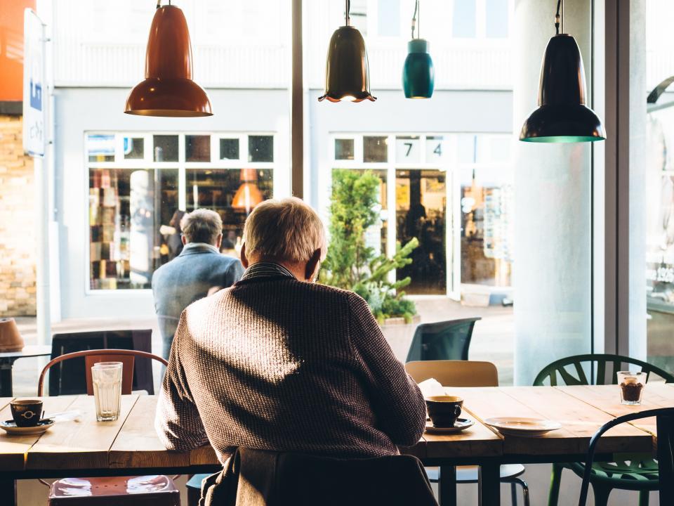 elderly in cafe
